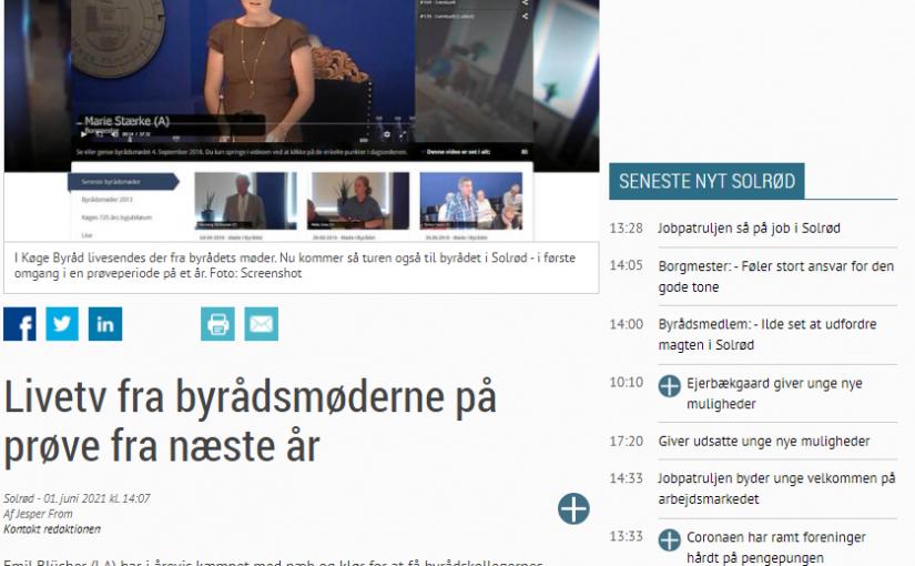 Sn.dk: Livetv fra byrådsmøderne på prøve fra næste år