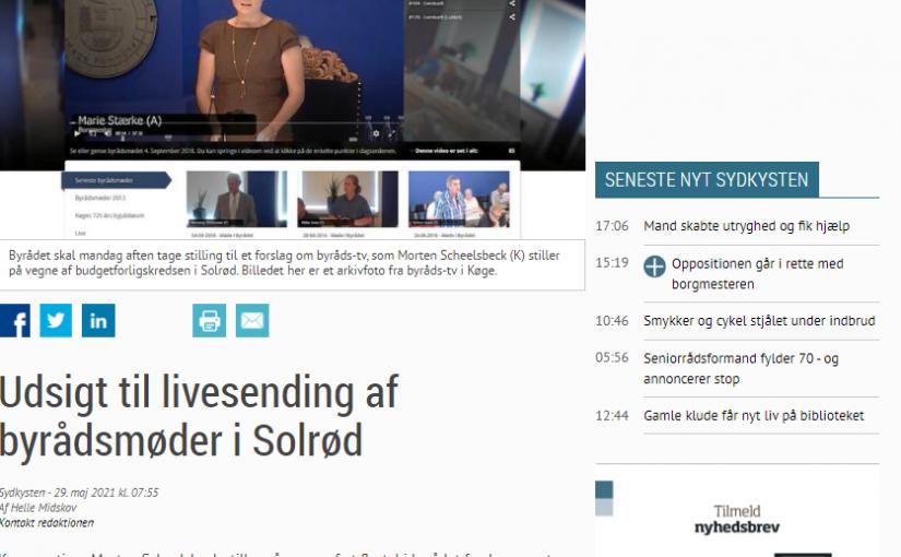 Sydkysten: Udsigt til livesending af byrådsmøder i Solrød